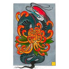 Змея и хризантема