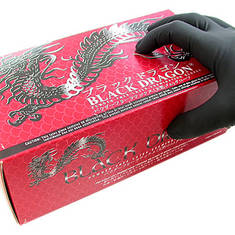 Перчатки латексные, черные Black Dragon